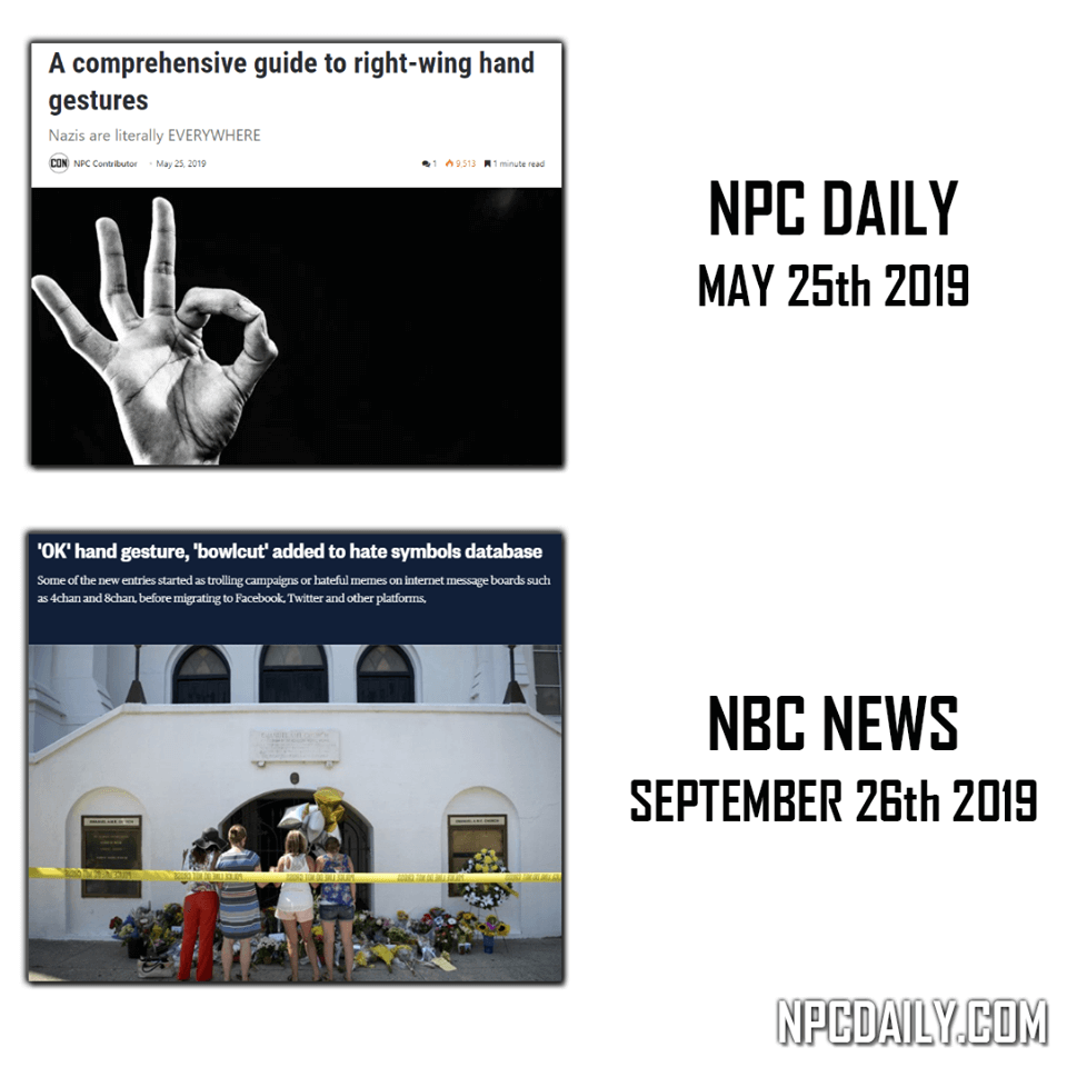 NPC Daily predicted the OK hand gesture to be a hate symbol.